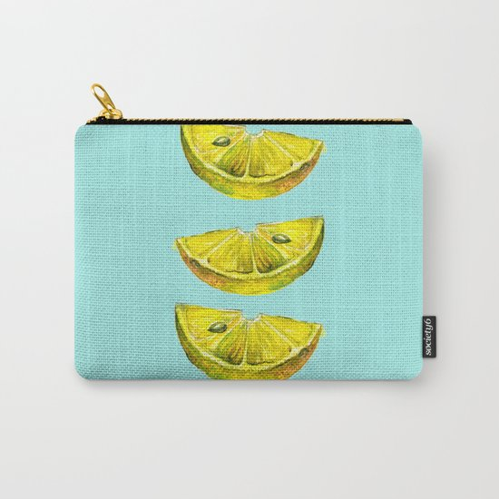 Lemon Slices Turquoise Carry-All Pouch
