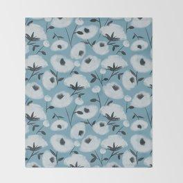 Cotton Flowers on Blue Pattern Throw Blanket