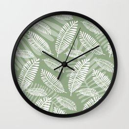 Palm Fronds . Sage Wall Clock