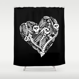 Skeletal Love Heart  (Black) Skulls and Bones Shower Curtain