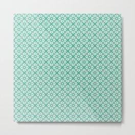 Geometric Flowers - Green Metal Print