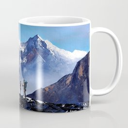 Panoramic View Of Ama Dablam Peak Everest Mountain Coffee Mug