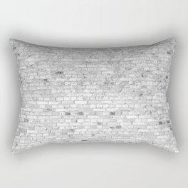 White Washed Brick Wall - Light White and Grey Wash Stone Brick Rectangular Pillow