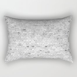 White Washed Brick Wall - Light White and Grey Wash Stone Brick Rectangular Pillow