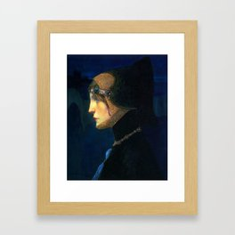 Head of a Lady in Medieval Costume by Lucien Victor Guirand de Scevola (c.1900) Framed Art Print