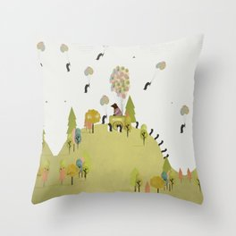 oh my how penguins fly Throw Pillow