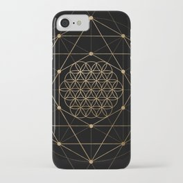 Flower of Life Black and Gold iPhone Case