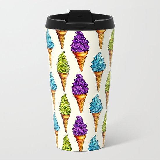 Ice Cream Blue Purple Green Metal Travel Mug