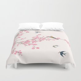 Birds and cherry blossoms Duvet Cover