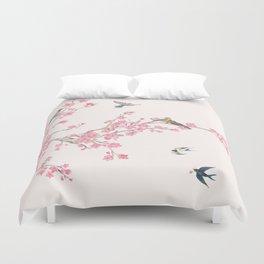 Birds and cherry blossoms Duvet Cover