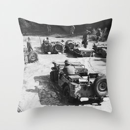 Jeeps Crossing Rain Swollen Stream in Italy Throw Pillow