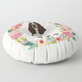 english springer spaniel dog floral wreath dog gifts pet portraits Floor Pillow
