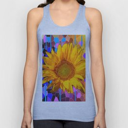 COLORFUL CARNIVAL YELLOW SUNFLOWER  ABSTRACT ART Unisex Tank Top
