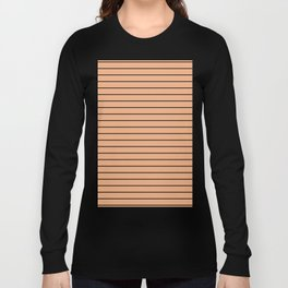 Thin Black Lines On Peach Long Sleeve T-shirt