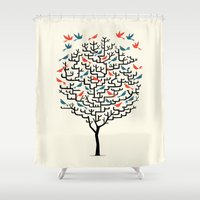 birds Shower Curtains featuring Out On a Lark by Oliver Lake