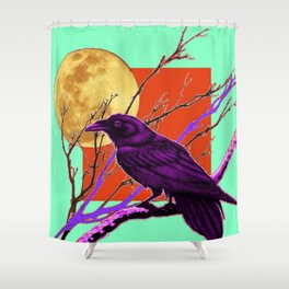 Surreal Purple-green  Mystic Moon Crow/Raven Moon Abstract Shower Curtain