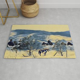 Indian Horse Pony Yellow Winter by CheyAnne Sexton Rug