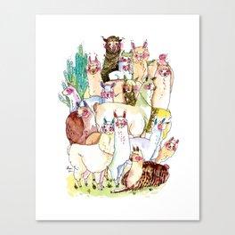 Wild family series - Llama Party Canvas Print