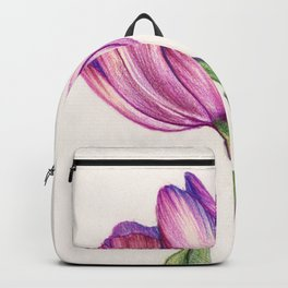 Purple Tulip in Colored Pencil Backpack