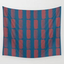 Red and Blue Grid Brushstroke Pattern 2021 Color of the Year Passionate and Long Horizon Wall Tapestry