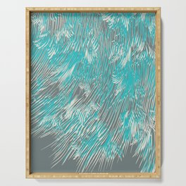 feathered lines in teal Serving Tray