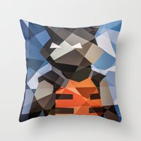 rocket raccoon Throw Pillows featuring Rocket by Eric Dufresne