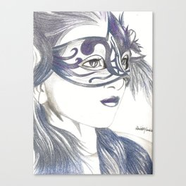 Venetian Mask Girl Sapphire Canvas Print