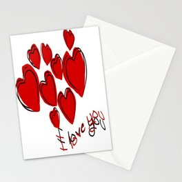 I Love You Greeting With Hearts Stationery Cards
