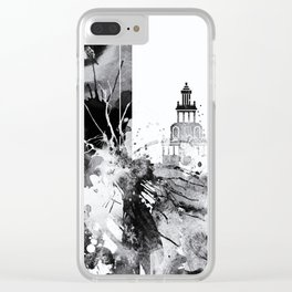Black and white watercolor Houston skyline Clear iPhone Case