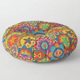 Funky Retro Pattern Mandalas Floor Pillow