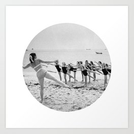 Aerobics On Beach Art Print