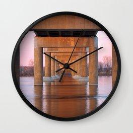 Twilight Bridge Pillars Wall Clock