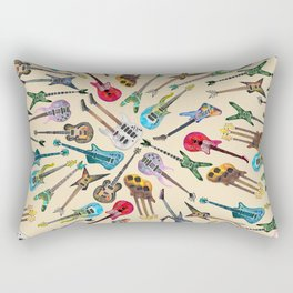 Electric Guitars Pattern Watercolor Rectangular Pillow