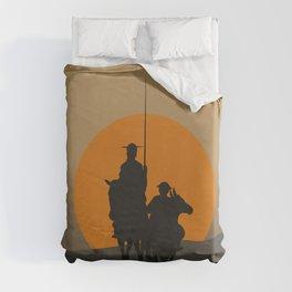 Don Quixote de la Mancha Silhouette, of Cervantes spanish novelist, at sunset Duvet Cover