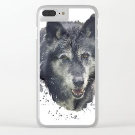 Digital Painting of Timber Wolf .Watercolor illustration on white background Clear iPhone Case