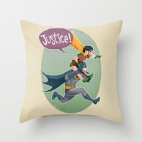 justice Throw Pillows featuring JUSTICE! by stoopz