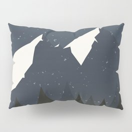 Mountains and Forest of Pine trees at night. Winter Landscape - Illustration Pillow Sham