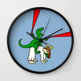Dinosaur Riding Jesus Wall Clock