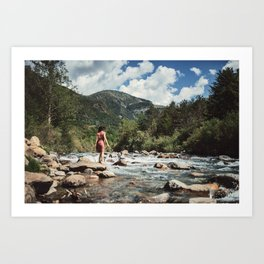 Woman at the river Art Print