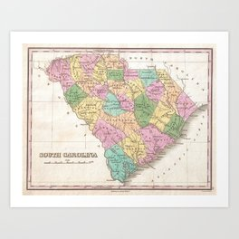 Vintage Map of South Carolina (1827) Art Print