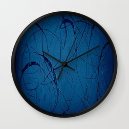 Pollock Inspired Blurred Blues Party - Corbin Henry Postmodernism Best Wall Clock