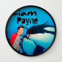 liam payne Wall Clocks featuring Liam Payne by Marianna