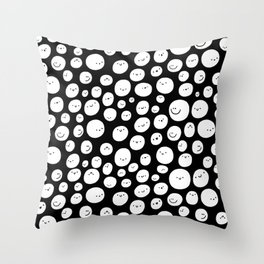 YAY! - black and white happy smiley faces Throw Pillow