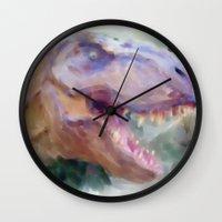 t rex Wall Clocks featuring T-Rex by Heidi Perry