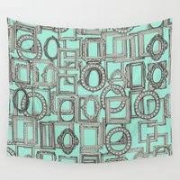 frames Wall Tapestries featuring picture frames aplenty bone mint by Sharon Turner