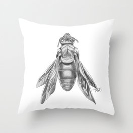 Orchid Bee Illustration Throw Pillow