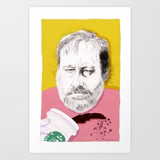 """Žižek just spilled Starbucks coffee all over himself""  Art Print"