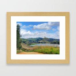 Rails by the riverside Framed Art Print