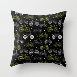 Bicycles cycle pattern black and white by andrea lauren Throw Pillow