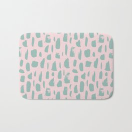 Handdrawn mint drops and dots on pink -Mix & Match with Simplicty of life Bath Mat
